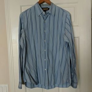Great blue striped button up shirt